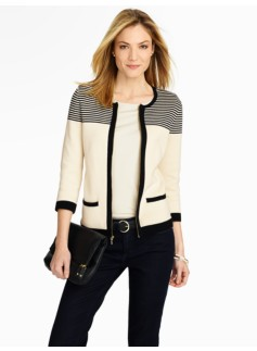 Stripes & Blocked Zip-Front Cardigan