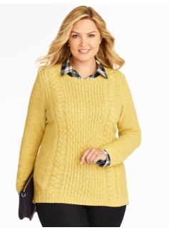 Marled Fisherman-Knit Sweater