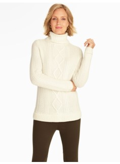 Mixed-Cable & Rib Turtleneck