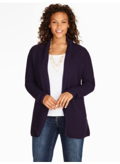 Ribbed Merino Shawl-Collar Cardigan