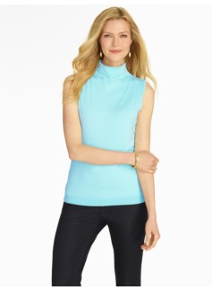 Mock-turtleneck Sleeveless Sweater