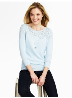 Pointelle-Yoke Sweater