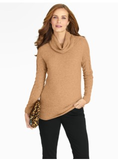 Cashmere Cable-Sleeve Cowl Neck