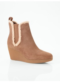 Andrea Faux Shearling-Trimmed Suede Wedge Booties