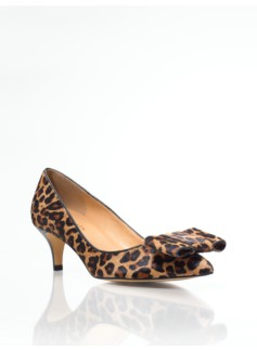 Dahlia Leopard Haircalf Bow Pumps