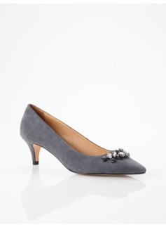Daylin Rhinestone-Topped Suede Pumps