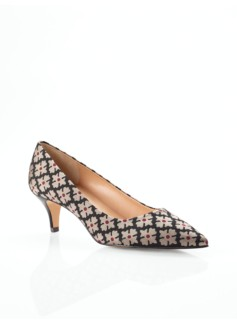 Desi Floral Brocade Kitten-Heel Pumps