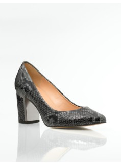 Eve Metal-Trimmed Lizard-Embossed Leather Chunky-Heel Pumps