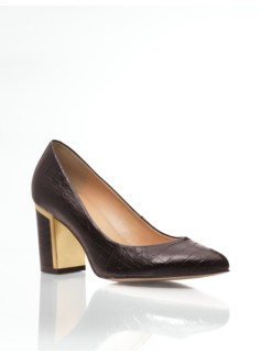 Eve Metal-Trimmed Croc-Embossed Leather Chunky-Heel Pumps
