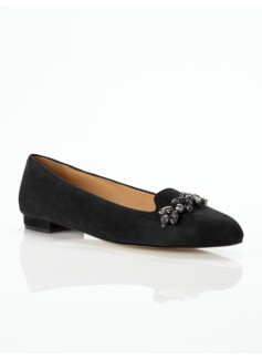 Gail Rhinestone-Topped Suede Flats