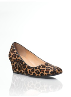 Lucha Square-Toe Leopard Haircalf Wedges