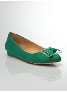 Norelle Tumbled Leather Bow & Buckle Demi-Wedges