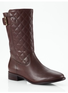 Tia Quilted-Front Leather Boots