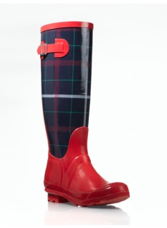 Winnie Tattersall Plaid Rubber Rain Boots