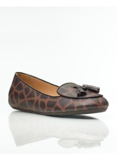 Zany Giraffe-Print Tumbled Leather Tassel Loafers