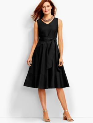 50s Dresses, Pinup Dresses, Swing Dresses Talbots Womens Flounced Fit And Flare Midi Dress $139.99 AT vintagedancer.com