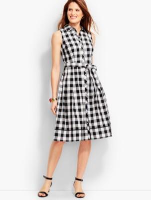 Pin Up Dresses | Pin Up Clothing Talbots Womens Gingham Shirtdress $149.00 AT vintagedancer.com