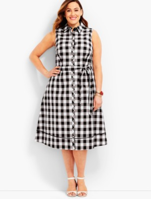 Pin Up Dresses | Pin Up Clothing Talbots Womens Woman Exclusive Gingham Shirtdress $169.00 AT vintagedancer.com