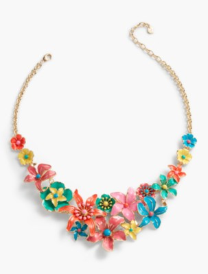 Vintage Style Jewelry, Retro Jewelry Talbots Womens Tropical Flower Necklace $64.99 AT vintagedancer.com