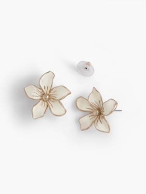 Vintage Style Jewelry, Retro Jewelry Talbots Womens Tropical Flower Earrings $34.50 AT vintagedancer.com