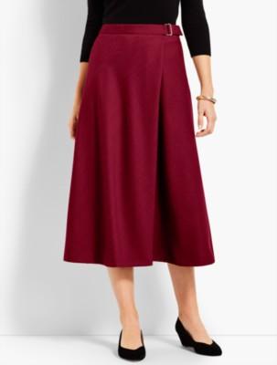 1930s Style Skirts : Midi Skirts, Tea Length, Pleated Talbots Womens Italian Flannel Faux Wrap Skirt $119.99 AT vintagedancer.com