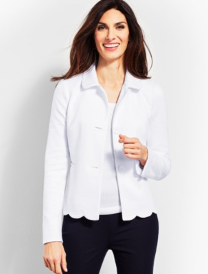 Vintage Coats & Jackets | Retro Coats and Jackets Talbots Womens Scallop Ponte Jacket $149.00 AT vintagedancer.com