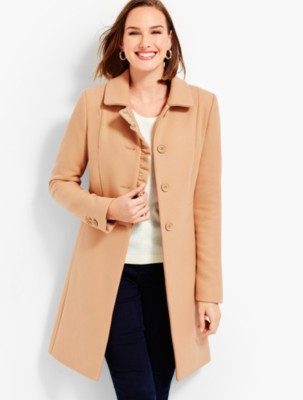 Vintage Coats & Jackets | Retro Coats and Jackets Talbots Womens Ruffle Melton Coat $299.99 AT vintagedancer.com