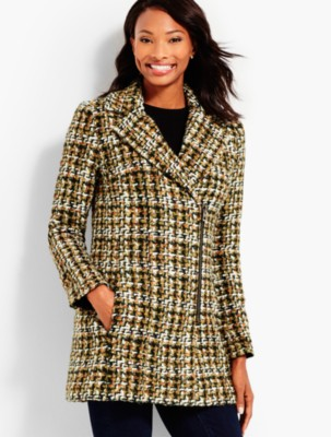 Vintage Coats & Jackets | Retro Coats and Jackets Talbots Womens Autumn Tweed Coat $191.99 AT vintagedancer.com