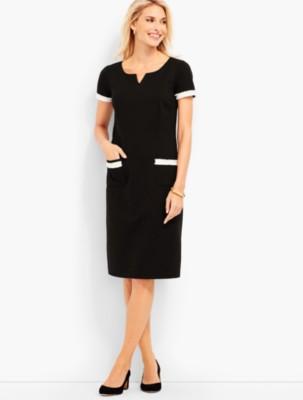 1960s Dresses: New 60s Style Dresses – Jackie O to Mod Talbots Womens Fringe Trimmed Ponte Sheath Dress Black $62.99 AT vintagedancer.com
