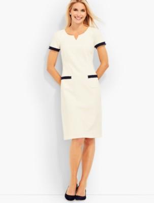 1960s Dresses: New 60s Style Dresses – Jackie O to Mod Talbots Womens Fringe Trimmed Ponte Sheath Dress Ivory $104.99 AT vintagedancer.com