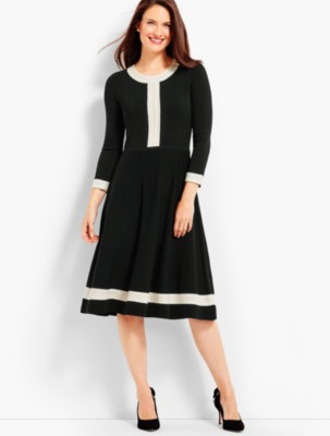 1960s – 70s Dresses- Retro Inspired Fashion Talbots Womens Pointelle Sweater Dress $159.00 AT vintagedancer.com