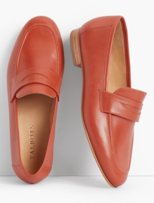 1950s Style Shoes Talbots Womens Cassidy Loafers Burnished Leather $54.99 AT vintagedancer.com