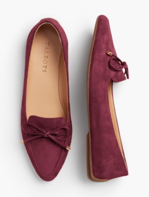 Retro Vintage Flats and Low Heel Shoes Talbots Womens Francesca Bow Front Driving Flats $59.99 AT vintagedancer.com