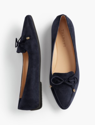 Retro Vintage Flats and Low Heel Shoes Talbots Womens Francesca Bow Front Driving Flats $119.00 AT vintagedancer.com
