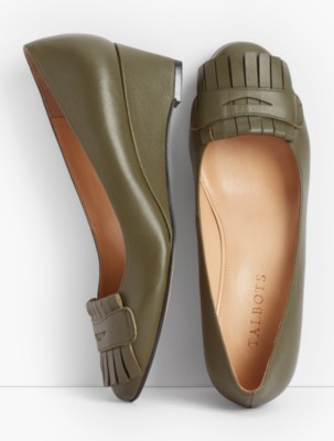 60s Shoes, Boots | 70s Shoes, Platforms, Boots Talbots Womens Natalie Kiltie Wedge Heels Napa Leather $59.99 AT vintagedancer.com