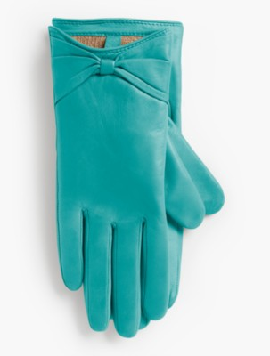 Vintage Style Gloves Talbots Womens Leather Bow Glove $99.00 AT vintagedancer.com