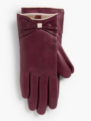 Vintage Style Gloves Talbots Womens Tipped Leather Bow Glove $99.00 AT vintagedancer.com
