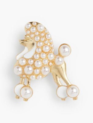 Retro Vintage Sweaters Talbots Womens Pearl Poodle Pin $49.50 AT vintagedancer.com
