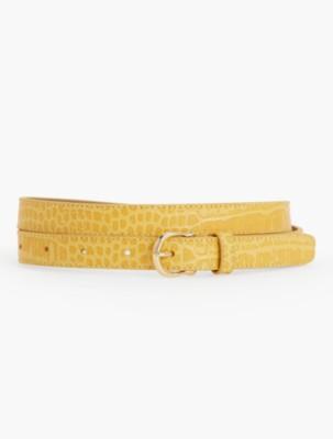 Vintage Wide Belts, Cinch Belts Talbots Womens Croc Embossed Equestrian Buckle Belt $19.99 AT vintagedancer.com