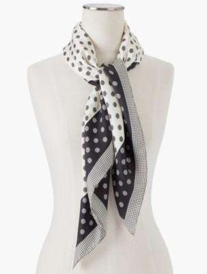 1920s Style Wraps Talbots Womens Polka Dots Houndstooth Scarf $35.70 AT vintagedancer.com