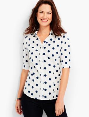 Vintage & Retro Shirts, Halter Tops, Blouses Talbots Womens The Perfect Elbow Sleeve Shirt Polka Dots $27.99 AT vintagedancer.com