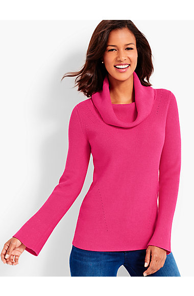 Flounce-Sleeve Cowlneck Sweater | Talbots