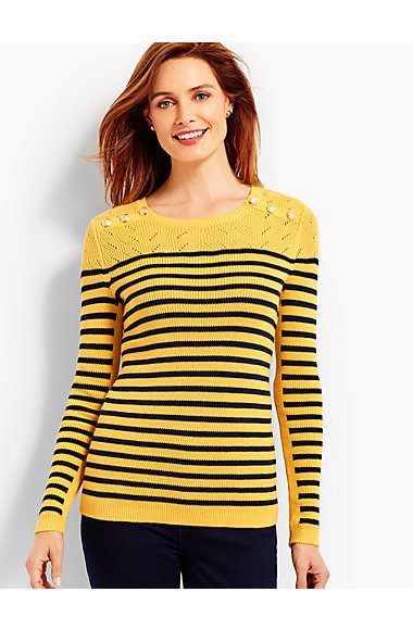 Marie Stripes Shoulder-Button Sweater | Talbots