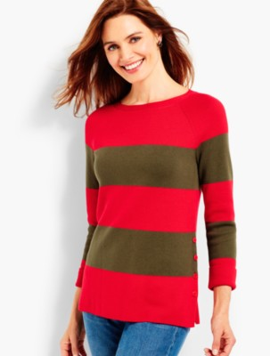 Ladies Colorful 1920s Sweaters and Cardigans History Talbots Womens Side Button Stripe Sweater $89.50 AT vintagedancer.com