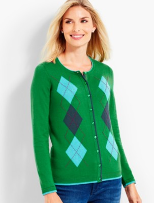 1950s Sweaters, 50s Cardigans, Twin Sweater Sets Talbots Womens Charming Cardigan Classic Argyle $89.99 AT vintagedancer.com