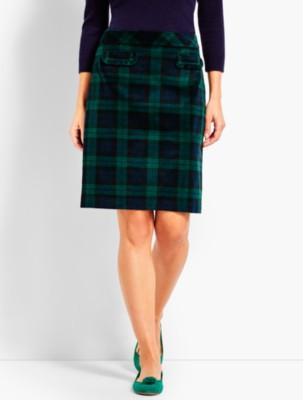 Retro Skirts: Vintage, Pencil, Circle, & Plus Sizes Talbots Womens Plaid Velveteen A Line Skirt $59.50 AT vintagedancer.com