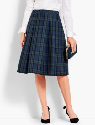 1940s Style Skirts- High Waist Vintage Skirts Talbots Womens Pleated Tartan Plaid Full Skirt $129.00 AT vintagedancer.com