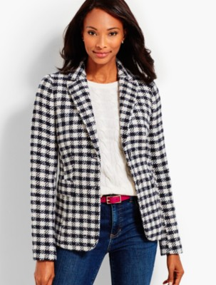 Vintage Coats & Jackets | Retro Coats and Jackets Talbots Womens Checked Blazer $101.99 AT vintagedancer.com