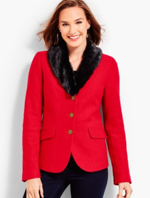 Vintage Coats & Jackets | Retro Coats and Jackets Talbots Womens Faux Fur Collar Aberdeen Blazer $113.99 AT vintagedancer.com