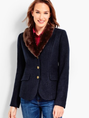 Women's 1940s Victory Suits and Utility Suits Talbots Womens Faux Fur Collar Aberdeen Blazer $169.99 AT vintagedancer.com